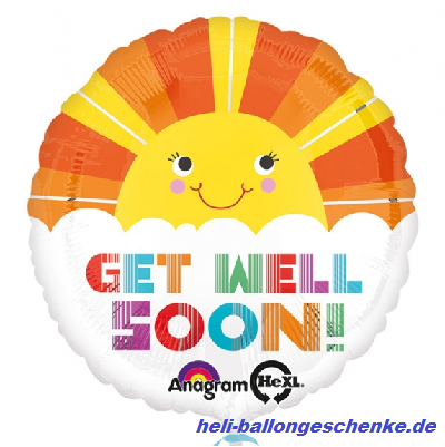 "Folienballon ""GET WELL SOON"", Sonne"