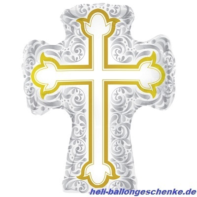 "Folienballon ""Silver & Gold Cross Shape"""