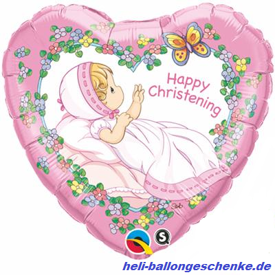 "Folienballon ""Christening"", Taufe-pink"