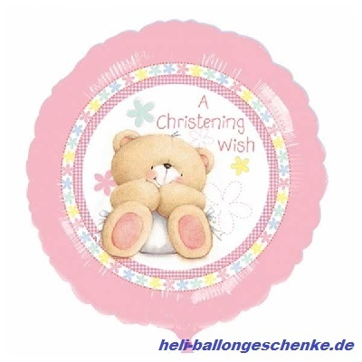 "Folienballon ""Christening"", Teddy-pink"