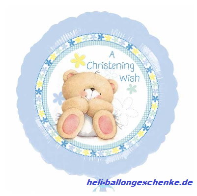 "Folienballon ""Christening"", Teddy-blue"