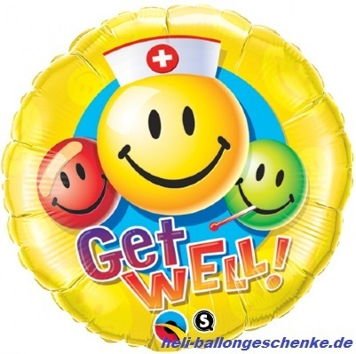 "Folienballon ""Get Well Smiley faces"""
