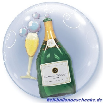 "Double Bubble ""Bubbly Wine Bottle&Glass"""
